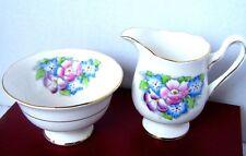 Royal Albert Primula Creamer and Sugar Bowl, Hand Painted Bone China Circa 1940s