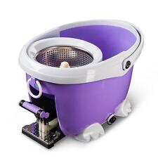 Microfiber Spin Spinning Mop Easy Floor Mop W/Bucket 2 Heads 360°Rotating Head