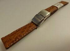 New ZRC France Tan Shark 14mm Watch Band Steel Deployment Sealock Clasp $34.95