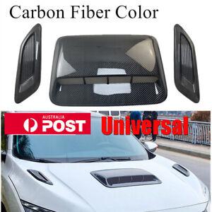 3pcs Carbon Fiber Look Car Air Flow Intake Hood Scoop Side Vent Bonnet Cover Kit