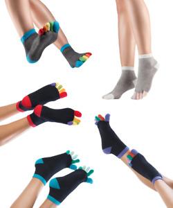 Knitido Rainbows, kurze Zehensocken mit bunten Zehen, 95% Baumwolle