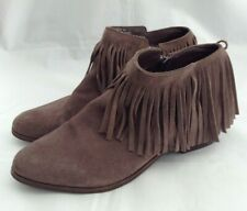 Steve Madden Patzee Size 9M Leather Ankle Boots With Fringes
