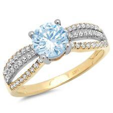 1.25ct Round Blue Stone Classic Wedding Bridal Statement Ring 14k 2tone Gold