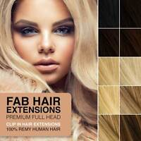 Stunning Remy Full Head Clip In Human Hair Extensions Black Blonde Brown