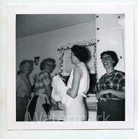 1960s  Square b/w snapshot Photo Ladies in kitchen washing dishes