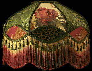VICTORIAN FLOOR LAMPSHADE FRINGE GOLD BURGUNDY SAGE CHENILLE LEOPARD FABRIC ROSE