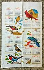 New listing Vintage Linen Calendar Towel - Birds: Cardinal, Blue Jay+ - 1968 - Free Shipping