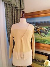 BELFORD Yellow & Ivory Silk Stretch Cardigan & Shell Sweater Set Twinset Sz S