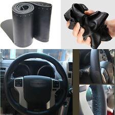 DIY Genuine Cowhide Car Braid Leather Steering Wheel Cover 38 CM Universal