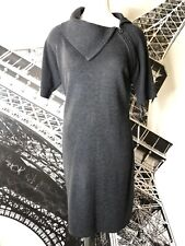 Calvin Klein Womens Large Gray Short Sleeve Zip Detail Knee Sweater Dress X