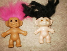Vintage Lot of 2 Troll Dolls Pink Hair Russ and Black Hair Made in Japan