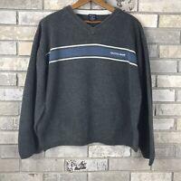 VTG 90s NAUTICA JEANS COMPANY Mens Medium Sweater Pullover V Neck Color Block OG