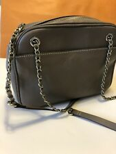 Beautiful Paul Costelloe Leather Shoulder Bag, Grey With Gold Detailing