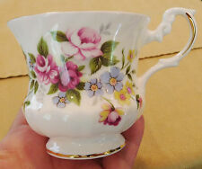 ROYAL DOVER TEACUP Pink Roses Flowers Blue Yellow Fine Bone China England 14