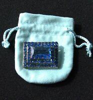 ANTIQUE Czechoslovakia Sapphire Blue Glass Rhinestone Art Deco Brooch Pin ~ Huge
