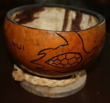 HAWAII COCONUT CALABASH BOWL BIG ISLAND TURTLE ENGRAVED WITH TAPA INLAY
