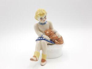 Vintage Ceramic Arts Studio Bobby Soxer Girl Sitting with Kitten Shelf Sitter