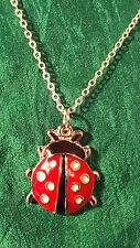 Lovely Enamel Ladybird Ladybug Fine Chain Necklace Pendant Silver Plated     d6