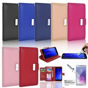 Glass Screen Protector / Double Flap Leather Wallet Case For Samsung Smartphones