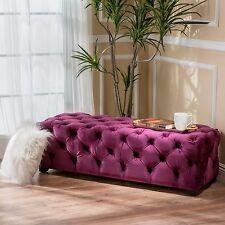 Provence Tufted Velvet Fabric Rectangle Ottoman Bench