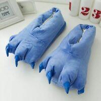 Adults Kids Winter Warm Soft indoor floor Slippers  Monster Dinosaur Claw Plush