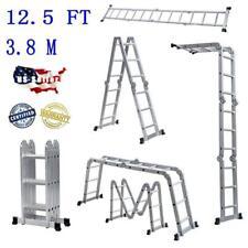 Aluminum Ladder Folding 125ft Multi Step Scaffold Extendable Giant Heavy Duty