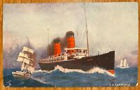 SS CAMPANIA STEAMSHIP AND SAILBOAT TUCK'S OILETTE POSTCARD B94