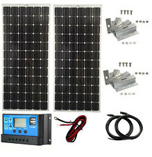 200W 2x 100W 12V Solar Panel kit 20A LCD Controller battery charger motorhome