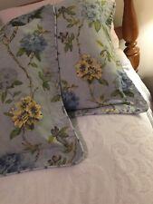 Martha Stewart 2 King PILLOW SHAMS Blue Yellow Floral Vintage