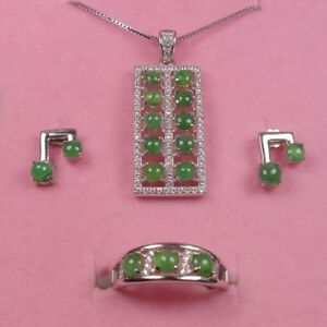 925 Silver Certified A 100% Natural Green Jadeite Jade Jewelry Sets Ring Pendant