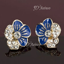 EARRINGS STUD 18K ROSE GOLD GF FLOWER CLEAR MADE WITH SWAROVSKI CRYSTAL