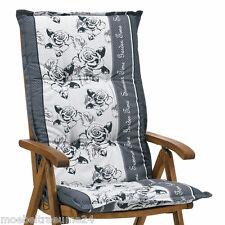 Gartenstuhl Auflagen 8 cm dick in grau geblümt Sessel Sitzkissen Stuhlkissen