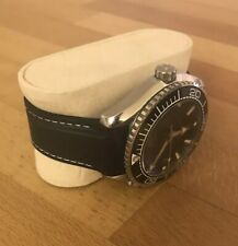 22MM RUBBER STRAP BLACK WITH WHITE STITCH + DEPLOY CLASP for OMEGA SEAMASTER