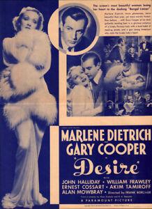 Desire Original  Movie Herald  from the 1936 Movie