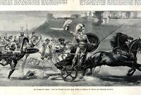 Triumph des Achilles XXL 1896 Kunstdruck Hektor Streitwagen griech.  Mythologie