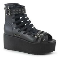 Demonia GRIP-105 Women's Black Vegan Leather Lace-Up Medium Platform Ankle Boots