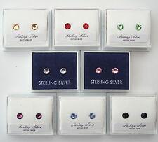 PAIR STERLING 925 SILVER SWAROVSKI ELEMENTS CRYSTAL STUD EARRINGS +SCROLLS & BOX