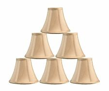 "Urbanest Chandelier Mini Lamp Shade,Softback Bell,Silk,3""x6""x5"" Taupe Set of 6"