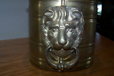 Brass Oblong Planter with Lion Head Knockers on Each End ~ INDIA (benefits WWP)
