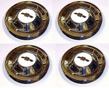 1955 1956 Hub Caps (4) Chrome w/White Details Chevrolet Chevy Pickup Truck 55 56