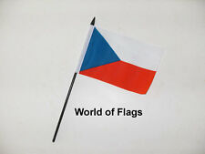 """CZECH REPUBLIC SMALL HAND WAVING FLAG 6"""" x 4"""" Crafts Table Desk Top Display"""