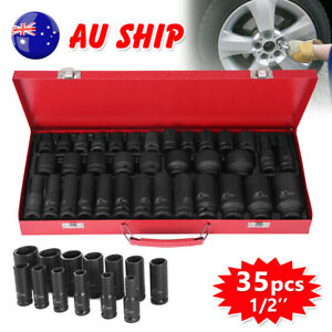"35pcs Metric 1/2"" Drive Deep Impact Sockets Tools Kit 8-32MM Garage Workshop Set"