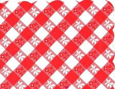 48 Plastic Scalloped Placemats Dinner Size Place Mats - Red Gingham