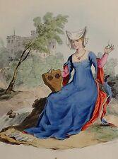 1813 Moda Traje De Impresión De Mano Color Dama del reinado del rey Enrique V 5TH