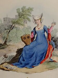 1813 FASHION COSTUME PRINT HAND COLOURED LADY OF THE REIGN OF KING HENRY V 5TH