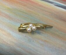 Vintage 18k Yellow Gold & Natural Pearl Pin Brooch, 7.6 grams