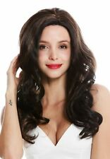 Wig Ladies Teil-Mono Parting Lace-Front Long Wavy Curls Braun Highlights