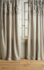 New Anthropologie Curtain Panel Grey Rivulet Tucked Ruffle (1) 50 x 63