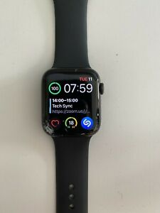 Apple Watch Series 5 44mm Space Gray Case Black Band - CRACKED SCREEN