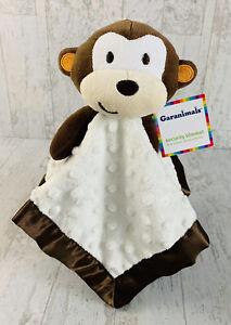 NWT Garanimals Infant Security Blanket White Minky Dot Satin Brown Monkey